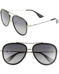 843f1a82169 Lyst - Gucci Web Block 57mm Leather Aviator Sunglasses in Black for Men