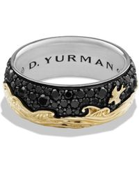 David Yurman - 'waves' Band Ring With 18k Gold And Black Diamonds - Lyst