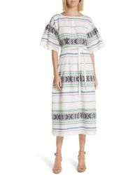 Joie - Lilianaly Embroidered Midi Dress - Lyst
