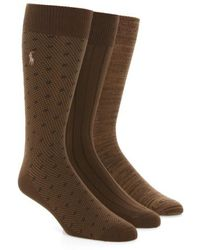Polo Ralph Lauren - Supersoft Diamond Dot Assorted 3-pack Socks, Beige - Lyst