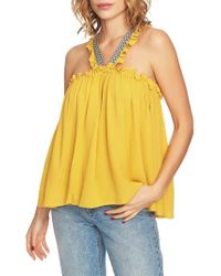 1.STATE - Embroidered Crinkle Gauze Babydoll Top - Lyst