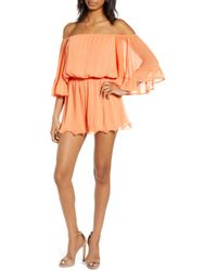 Endless Rose - Off The Shoulder Ruffle Sleeve Romper - Lyst
