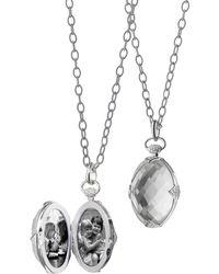 Monica Rich Kosann - Oval Stone Locket Necklace - Lyst