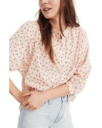 Madewell - Delicate Floral Peasant Top - Lyst