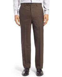 Berle - Self Sizer Waist Flat Front Wool Trousers - Lyst