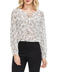Vince Camuto - Mosaic Floral Peasant Blouse - Lyst