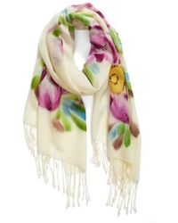 La Fiorentina - Floral Wool Scarf - Lyst