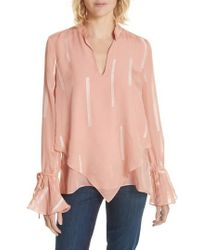 10 Crosby Derek Lam - Clipped Stripe Handkerchief Silk Blend Blouse - Lyst