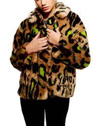 TOPSHOP - Juno Faux Fur Leopard Jacket - Lyst