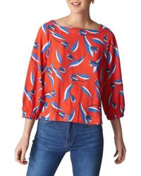 Whistles - Tulip Print Linen Top - Lyst