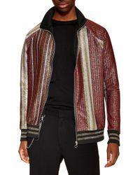 TOPMAN - Classic Fit Metallic Stripe Track Jacket - Lyst