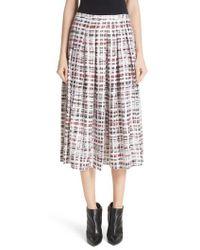 Burberry - Farnborough Pleated Check Silk Midi Skirt - Lyst