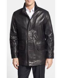 Cole Haan - Lambskin Leather Car Coat - Lyst