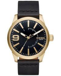 DIESEL - Diesel Rasp Leather Strap Watch - Lyst