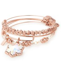 ALEX AND ANI - Snowflake Set Of 3 Adjustable Wire Bangles - Lyst