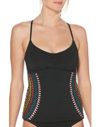 Laundry by Shelli Segal - Embroidered Underwire Tankini Top - Lyst