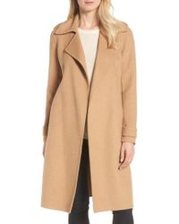 Badgley Mischka - Double Face Wool Blend Wrap Front Coat - Lyst