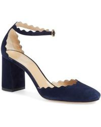 Chloé - Scalloped Ankle Strap D'orsay Pump - Lyst