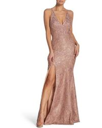 Dress the Population - Iris Plunging Lace Trumpet Gown - Lyst