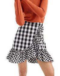 J.Crew - J.crew Pistachio Gingham Cotton Poplin Ruffle Skirt - Lyst