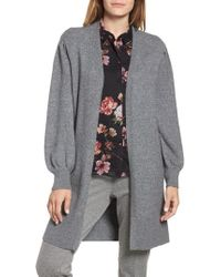 Vince Camuto - Drama Bubble Sleeve Cotton Blend Cardigan - Lyst