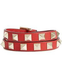 Valentino - Garavani Leather Double Bracelet - Lyst