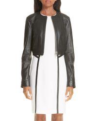 Michael Kors - Crop Plonge Leather Jacket - Lyst
