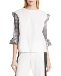 MM6 by Maison Martin Margiela - Smocked Sleeve Top - Lyst
