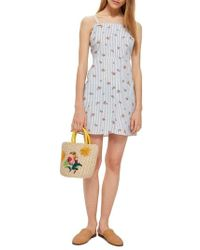TOPSHOP - Stripe Floral Mini Pinafore Dress - Lyst