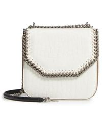 Stella McCartney - Medium Falabella Box Croc-embossed Faux Leather Shoulder Bag - Lyst