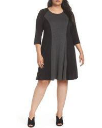 Karen Kane - Faux Suede Trim Colorblock A-line Dress - Lyst