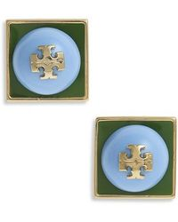Tory Burch - Stacked Logo Stud Earrings - Lyst