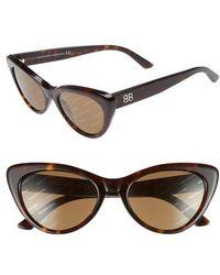 62c958184d5 Lyst - Balenciaga  ba0053  55mm Cat Eye Sunglasses - Dark Havana ...