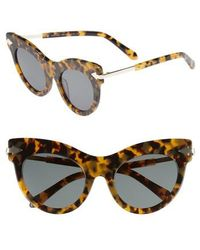 Karen Walker - Miss Lark 52mm Cat Eye Sunglasses - Crazy Tortoise - Lyst