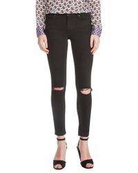 Maje - Priska Ripped Bee Embroidery Black Skinny Jeans - Lyst