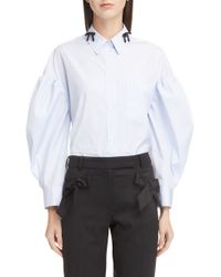 Simone Rocha - Stripe Beaded Collar Blouse - Lyst