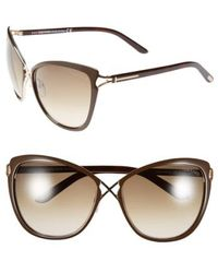 Tom Ford - 'celia' 59mm Cat Eye Sunglasses - Shiny Dark Brown - Lyst