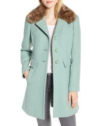 Kate Spade - Faux Fur Collar Wool Blend Coat - Lyst