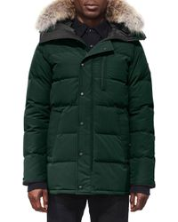 Canada Goose - 'carson' Slim Fit Hooded Packable Parka With Genuine Coyote Fur Trim, Green - Lyst