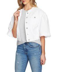 1.STATE - Collarless Wide Sleeve Denim Jacket - Lyst
