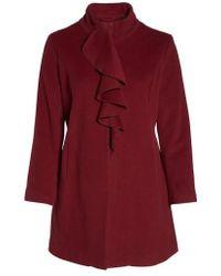 Tahari   Kate Ruffle Wool Blend Coat   Lyst