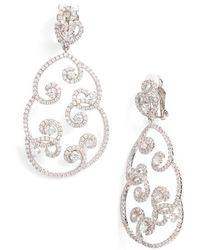 Nina - Swirl Pave Clip-on Drop Earrings - Lyst