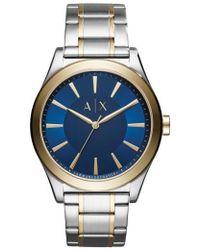 Armani Exchange - Nico Two-tone Bracelet Watch - Lyst