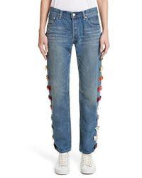Tu Es Mon Tresor - Velvet Side Bow Jeans - Lyst