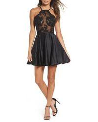 La Femme - Embellished Illusion Bodice Skater Dress - Lyst