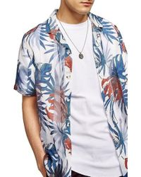 TOPMAN - Palm Print Shirt - Lyst