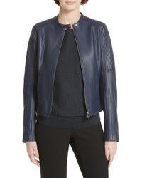 BOSS - Sadeno Leather Moto Jacket - Lyst