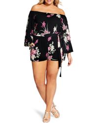 City Chic - Lady Floral Off The Shoulder Romper - Lyst