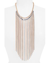 Natasha Couture - Crystal & Chain Fringe Necklace - Lyst