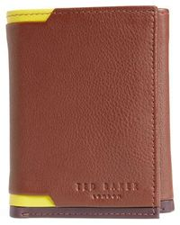 Ted Baker | Vien Corner Detail Trifold Leather Wallet | Lyst